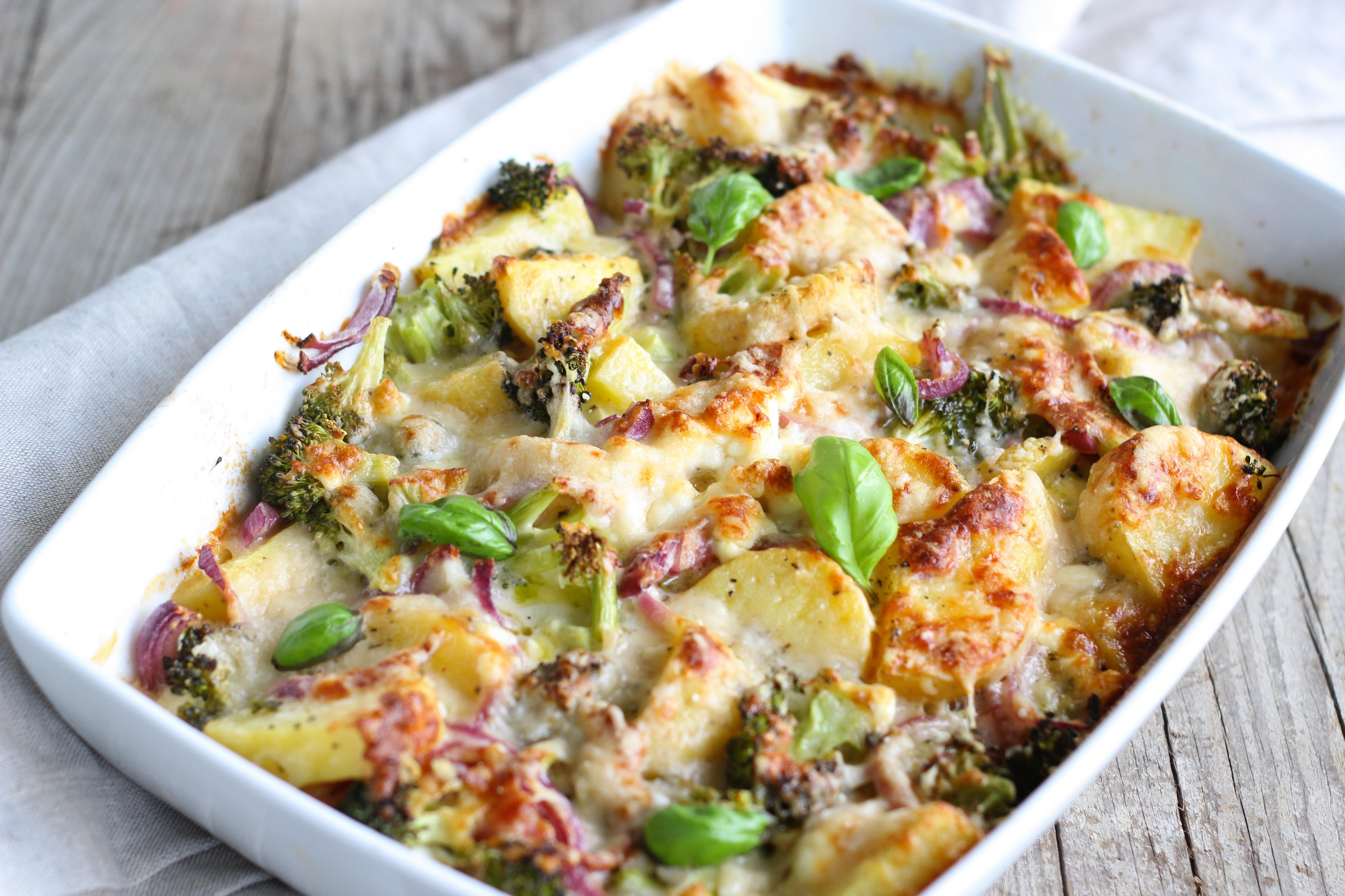 Schinken-Kartoffeln mit Brokkoli
